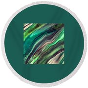 Green Waves Round Beach Towel