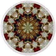 Green White Red Blue Kaleidoscope 1 Round Beach Towel