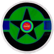 Green With Blue Round Beach Towel