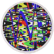 Green Yellow Blue Red Black And White Abstract Round Beach Towel