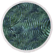 Green Zebra Print Round Beach Towel