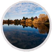 Greenlake Fall Reflections Round Beach Towel