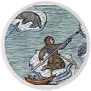 Greenland Eskimos, 1555 Round Beach Towel