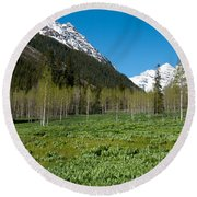 Greens And Blues Of The Maroon Bells Round Beach Towel
