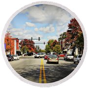 Greensboro Georgia Corner Of Main Street And Broad Street Fall Leaves Greensboro Georgia Art Round Beach Towel