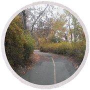 Greenway Trail In The Fall Round Beach Towel