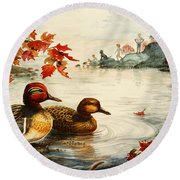 Greenwinged Teal Ducks Round Beach Towel