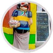 Greeter At Pizzeria In La Boca Area Of Buenos Aires-argentina- Round Beach Towel