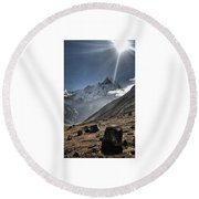 Greeting To Mountain By Sun Round Beach Towel