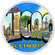 Greetings From Chicago Illinois Round Beach Towel