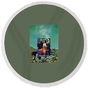 Greetings From The Otherworld Don Maitz Round Beach Towel