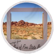 Greetings From Valley Of Fire Round Beach Towel