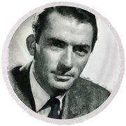 Gregory Peck Hollywood Actor Round Beach Towel