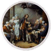 Greuze: The Village Bride Round Beach Towel