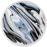 Grey And Black Metal Marbling Effect Abstract Round Beach Towel