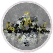 Grey And Yellow Abstract Cityscape Art Round Beach Towel