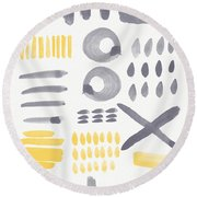 Grey And Yellow Shapes- Abstract Painting Round Beach Towel by Linda Woods