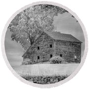 Grey Barn On A Grey Day Round Beach Towel