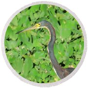 Grey Crane On Green Round Beach Towel