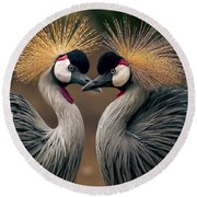 Grey Crowned Cranes Of Africa Round Beach Towel