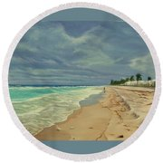 Grey Day On The Beach Round Beach Towel
