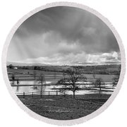 Grey Day Round Beach Towel