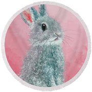 Grey Easter Bunny Round Beach Towel