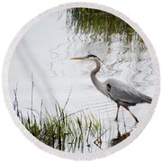 Grey Heron #3 Round Beach Towel