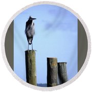 Grey Heron On A Pole Round Beach Towel