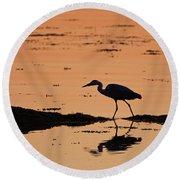 Grey Heron Sunset Round Beach Towel