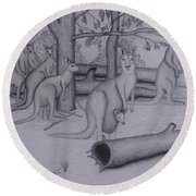 Grey Kangaroos Round Beach Towel