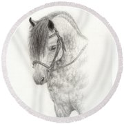 Grey Pony Round Beach Towel