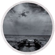 Grey Sun Round Beach Towel