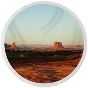 Grey Whiskers And Mitchell Butte Round Beach Towel