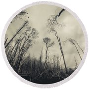 Grey Winds Bellow  Round Beach Towel