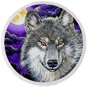 Grey Wolf And Full Moon Round Beach Towel