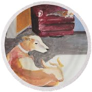 Greyhound And Spaniel Round Beach Towel