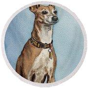 Greyhound Commission Painting By Irina Sztukowski Round Beach Towel