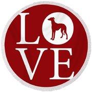 Greyhound Love Red Round Beach Towel