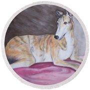 Greyhound Number 2 Round Beach Towel
