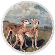 Greyhounds Round Beach Towel by John Emms