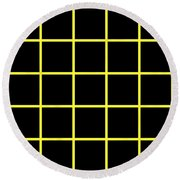 Grid Boxes In Black 05-p0171 Round Beach Towel