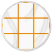 Grid Boxes In White 03-p0171 Round Beach Towel