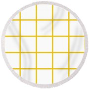 Grid Boxes In White 05-p0171 Round Beach Towel