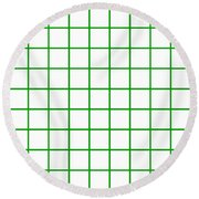 Grid Boxes In White 09-p0171 Round Beach Towel