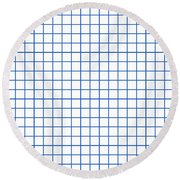 Grid Boxes In White 18-p0171 Round Beach Towel