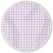 Grid Boxes In White 30-p0171 Round Beach Towel
