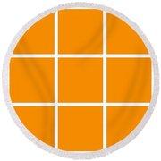 Grid In White 03-p0171 Round Beach Towel