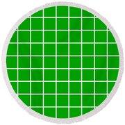 Grid In White 09-p0171 Round Beach Towel