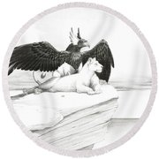 Griffin And Lioness Round Beach Towel
